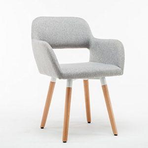 Reception Chairs Stuhl Holz massiv Esszimmerstuhl modern Einfache Casual Dining Stuhl Stoff Cafe Stuhl Home Schreibtisch Stuhl Empfang Stühle grau