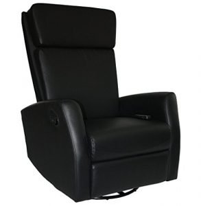 KMH®, Massagesessel/Fernsehsessel / Relaxsessel *Hannover* – schwarz (drehbar/verstellbar) (#800073)
