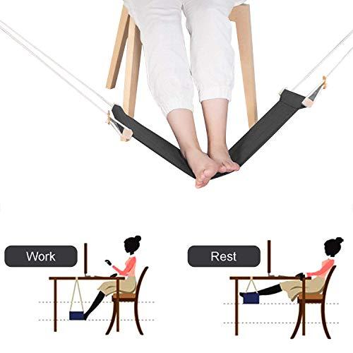 KidsHobby Fuß Hängematte Verstellbar Praktische Fußhängematte Schreibtisch Fußstütze mit Kopfhörerhaken zur Entspannung im Büro