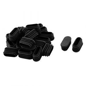 sourcingmap® 21Stk Schule Plastik ovale Stuhlbein Fußschutz Abdeckung Stopfen Schwarz 32x15mm