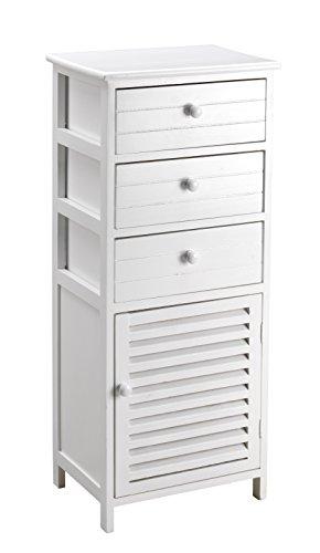 King Home c656897Kommode 3Schubladen mit Tür, weiß, 40x 29x 93H
