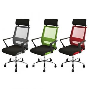 Bürostuhl Kopfstütze Schreibtischstuhl Design Drehstuhl Stuhl Mesh Netz (Schwarz / Grau)