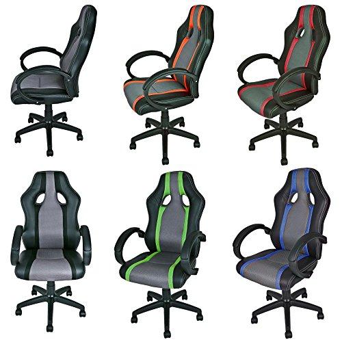 ESTEXO Bürostuhl Racing Drehstuhl Schreibtischstuhl Chefsessel Bürosessel Stuhl (Schwarz/Blau / Grau)