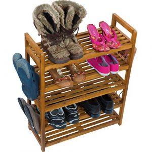 Schuhregal Schuhschrank Regal Schuhständer Schuhablage Schuhe Aufbewahrung – Schuhregal auch für draußen Akazie Holz braun