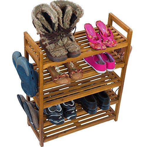 Schuhregal Schuhschrank Regal Schuhständer Schuhablage Schuhe Aufbewahrung - Schuhregal auch für draußen Akazie Holz braun