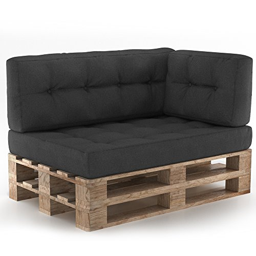 Palettenkissen Palettenmöbel Ecksofa Couch Sitzecke inkl. Europalette Palettensofa Palettenpolster Kissen Sofa Polster Indoor Outdoor (Anthrazit)