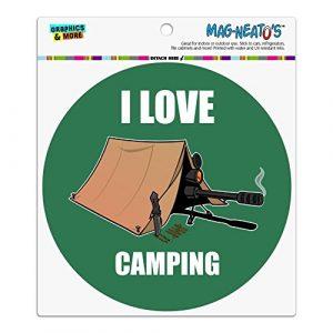 I love camping Sniper Shooting Gaming Gamer Automotive Car Kühlschrank Locker Vinyl Kreis Magnet