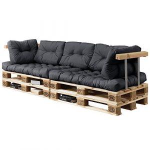 [en.casa] Palettenkissen – 7-teilig – Sitzpolster + Rückenkissen [Dunkelgrau] Paletten-Sofa in/Outdoor