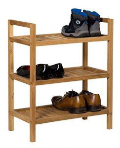 Waverly Stapelbares Eichen-Schuhregal, Finish in heller Eiche, passend für 6Paar Schuhe | schmaler Massiv-Holz-Organizer/Ständer | 3Etagen