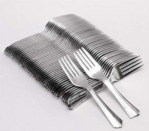 Ophion Einweg-Gabeln, Kunststoff, wiederverwendbar, silberfarben, toll für Picknicks, Partys, Buffets und mehr, 100 Stück