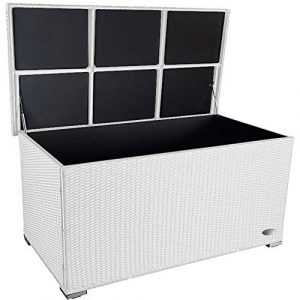 """RS Trade Premium """"Venezia"""" 950 L XXL Kissenbox (es regnet Nicht rein) L 146 cm x B 83 cm x H 80 cm ideal als Buffet Tisch nutzbar mit 2 x Gasdruckstoßdämpfer und eingebauter Tischplatte Farbe: Weiss"""
