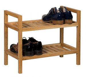 Waverly Stapelbares Eichen-Schuhregal, Finish in heller Eiche, passend für 4Paar Schuhe, schmaler Massiv-Holz-Organizer/Ständer, 2Etagen