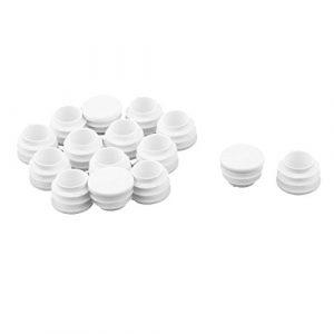 Sourcingmap® 15Stk Familie Kunststoff runde Möbel Fußende Rohrstopfen Kappe weiß 22mm Dmr. DE