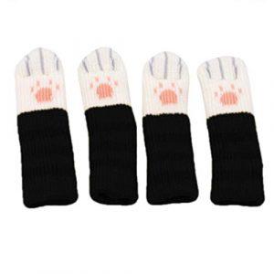 Kissherely 4 Stücke Stuhl Socken Möbel Beine Deckt Beschützer mit Niedlichen Katzenpfoten Design Fliesenboden Protector (Schwarz)