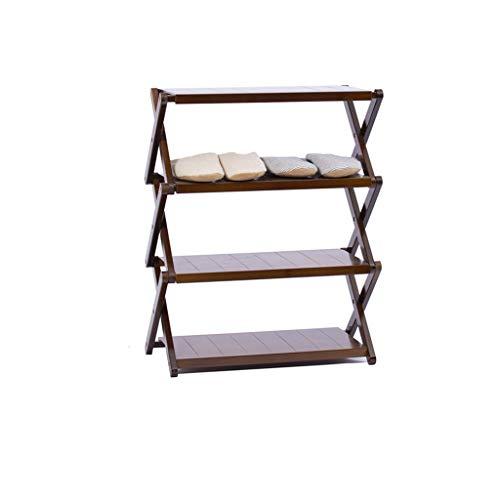 YUN-X Kostenlose Installation Klappschuhregal, Schlafsaal für Damen mehrschichtiger, einfacher Schuhschrank, Balkon-Multifunktionsregal, Blumenständer (Farbe : Brown, größe : 55 * 67cm)