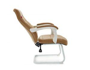 Computer Stuhl ergonomische Verstellbare Bürostuhl Kinder Studie Schreibtisch Stuhl mit Leder Stoff und Stahl Basis – braun, weiß (Farbe : Braun)