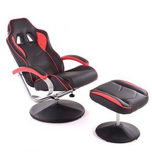 MACOShopde by MACO Möbel Racing TV Sessel mit Hocker aus Kunstleder in schwarz-rot ergonomisch geformt kippbar und 360° drehbar