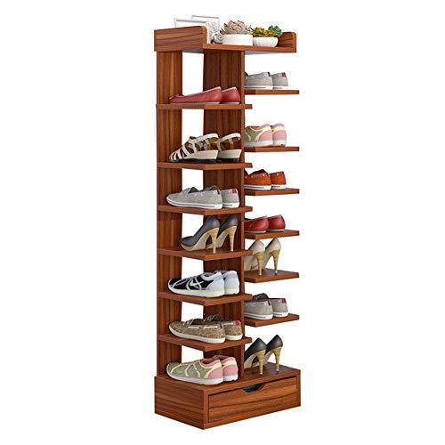 CSQ Schuhregal für den Haushalt, spart Platz für Wohnzimmer, Tür, 8 Böden, hohe Kapazität, Holz Herrenschuhe, Holz, Sandalwood, 130 * 24 * 40cm