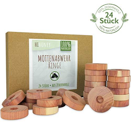HI HONEY Natürlicher Mottenschutz aus Zedernholz - Produktneuheit [24 Stück] - effektive Mottenabwehr für Kleiderschrank - chemiefrei & biologisch abbaubar - Wiederverwendbare Mottenfalle