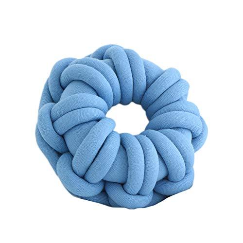 hand stricken throw pillow weiche knoten kissen super chunky garn handgemachte dekorative weiche plüschtier runde flauschige für couch sofa büro lounge wohnzimmer stuhl dekoration - blau