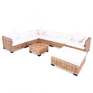 vidaXL Sofagarnitur 27-tlg. Natur Rattan Sofa-Set Rattanmöbel Couch Lounge Möbel