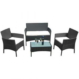 FROADP Poly Rattan balkonmöbel gartenmöbel Set schwarz – mit 2-er Sofa, Singlestühle, Tisch und Weiß Sitzkissen – Gartenmöbel Lounge Farbwahl (Weiß Sitzkissen,A Type)