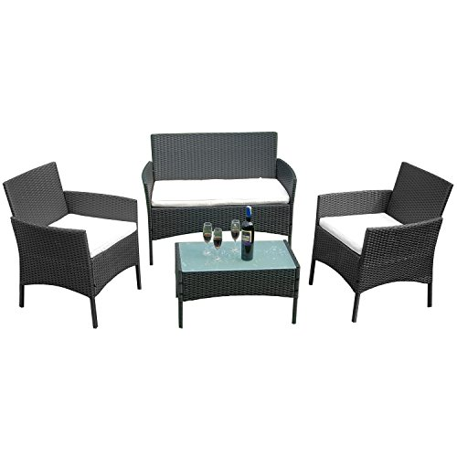 FROADP Poly Rattan balkonmöbel gartenmöbel Set schwarz - mit 2-er Sofa, Singlestühle, Tisch und Weiß Sitzkissen - Gartenmöbel Lounge Farbwahl (Weiß Sitzkissen,A Type)