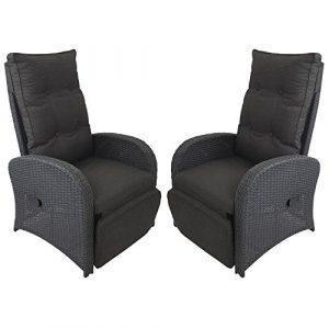 2 Stück Polyrattan Gartensessel Rattansessel Rattanstuhl Relaxsessel Fernsehsessel Loungesessel mit Fußteil stufenlos verstellbar Schwarz + Auflage Schwarz