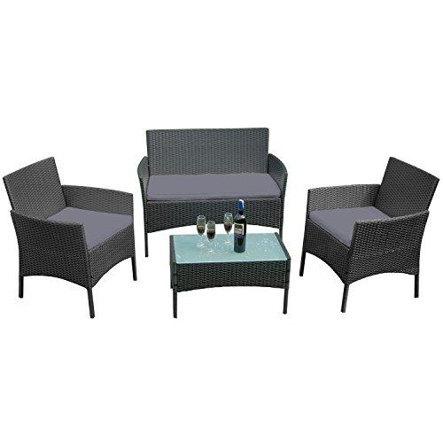 LARS360 Poly Rattan Gartenmöbel-Set Sofa Garnitur Sitzgarnitur Lounge Sitzgruppe mit 3 Sofa und Tisch für Garten (Typ 1 Anthrazit)