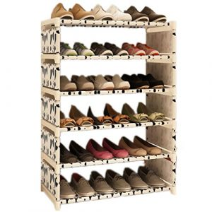 KAIMENG Schuhregal, 6 Ebenen, Leinen, einfacher Schuhschrank, Aufbewahrung bis zu 18 Paar Schuhe Schuhaufbewahrung Organizer weiß