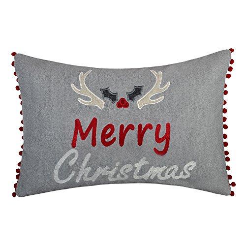 KINGROSE Frohe Weihnachten Stickerei Devil Antlers Dekorative Wolle Kissenbezüge Zuhause Bett Wohnzimmer Sofa Auto Bürostuhl Geschenke 12 x 20 Zoll