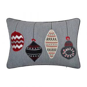 KINGROSE Weihnachten Stickerei hängen Ball Rechteck Faux Cashmere Dekorative Kissenbezüge Zuhause Bett Wohnzimmer Sofa Auto Bürostuhl Geschenke 14 x 20 Zoll