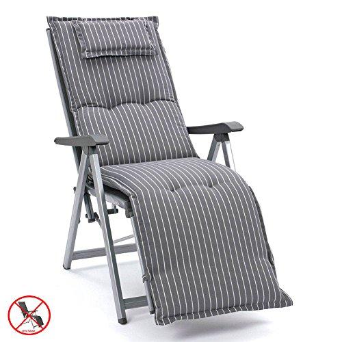 2 Auflagen für Relaxliegen in grau gestreift mit Kopfpolster Kettler Dessin 709 (ohne Sessel)