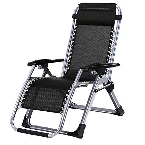 WJJH Sonnenliege Liegestuhl Relaxsessel & -liegen Klappstuhl Lounge Büros Mittagspause Stuhl Strandliege Adult Lounge Patio Stuhl Strand Klappliege 200kg Schwarz