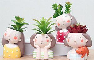 BIEE 4 Stück Netter Mädchen Blumentopf Harz Sukkulenten Pflanzer Schreibtisch Mini Ornament