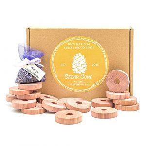 40 Stück natürlicher Mottenschutz aus Zedernholz + EXTRA Lavendel | 100% Bio Naturprodukt | Anti-Mottenschutzmittel | Mottenschutz für Kleiderschrank Chemiefreie Mottenfalle
