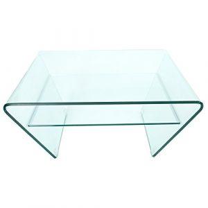 Design Trapez Glas Couchtisch GHOST 80cm mit Ablage transparent Glastisch Beistelltisch