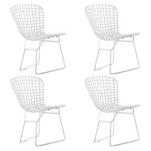 QIHANG-UK Stuhl Esszimmerstuhl Seitenstuhl Eisendraht Stuhl für Esszimmer, Wohnzimmer, Wohnzimmer, Restaurant, Kaffeehaus, 4 Stück weiß