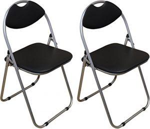 Klappstuhl – gepolstert – Schwarz – 2 Stück