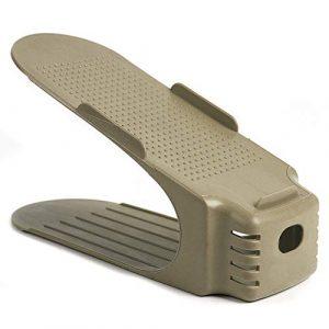OPUSS Schuhregal, Verstellbare Schuhschlitze, platzsparend, einfacher Schuh-Organizer, Doppel-Schuhregal, Stauraum für Schrank, Plastik, beige, 13 * 22CM