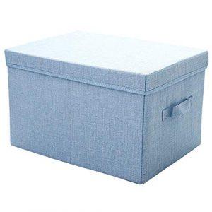 CHENGGUO Baumwolle und Leinen Aufbewahrungsbox bedeckt Stoff Aufbewahrungsbox Kleiderschrank Aufbewahrungsbox Kleidung Aufbewahrungsbox Haus Extra Large Folding (Set von 2) (Farbe : Blau, größe : A)
