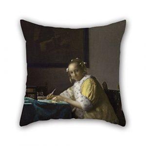 Slimmingpiggy Weihnachten Kissenbezüge 40,6x 40,6cm/40von 40cm (doppelte Seiten) Nice Wahl für Bürostuhl Valentine Frau Küche Play Öl Gemälde Johannes Vermeer–A Lady Schreiben
