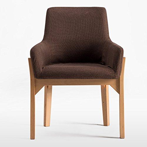 ERRU-Stühle Nordic Massivholz Esszimmer Stuhl Haushalt Modern Einfach Sofa Freizeit Bürostuhl (58 * 80cm, Farbe optional) ( Farbe : Braun , größe : 6 Pieces )