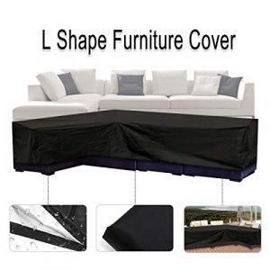 Essort L Form Bezug, Terrasse Sofa Möbel Couch Cover mit wasserdicht und staubdicht für Umzüge oder Sonnenschutz 200cm (L) ×. (R) × 90cm (H) schwarz
