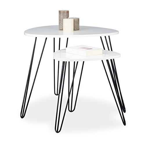 Relaxdays Beistelltisch Weiss 2er Set, eckiger Dreibeiner, Holz Sofatisch für Wohnzimmer, HxD: 52 x 60 cm, glänzend Weiß
