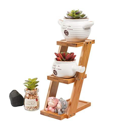 LIYANHJ 3 - Tier Schreibtisch Pflanzer Regal für Pflanzen, kleine saftige Töpfe Ausstellungsstand Bambus Rack für Küche Badezimmer Fensterbrett
