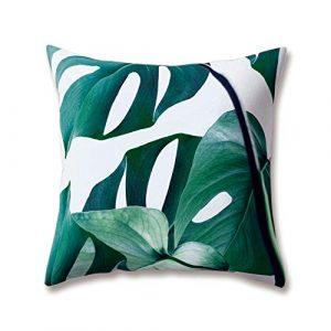 Hengjiang Weich Plüsch Weiß Nordic Style Kissen Kaktus grün Leaf Pflanze Druck 18x 18/45x 45cm Überwurf Weicher, Einfarbiger Kissen für Home Sofa Bett Deko, Polyester, 12, 45 cm*45 cm