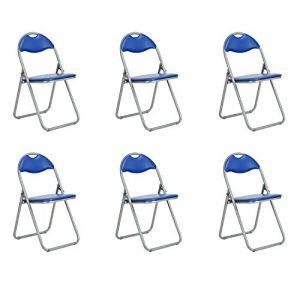 Fanilife Klappstühle Set von 6Metall Faltbare Esszimmerstühle mit PVC Sitz Retro Office Empfang Garten, der faltbar Schreibtisch-Stühle blau