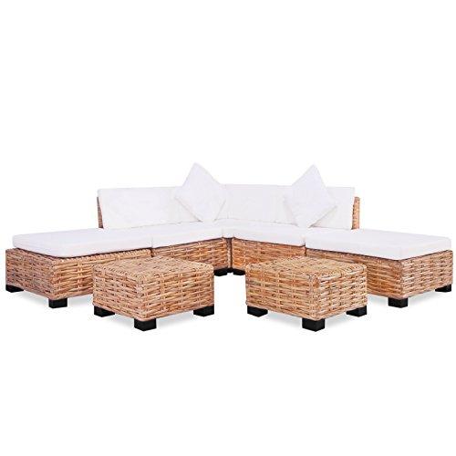 vidaXL Sofagarnitur 18-tlg. Natur Rattan Sofa-Set Rattanmöbel Couch Lounge Möbel