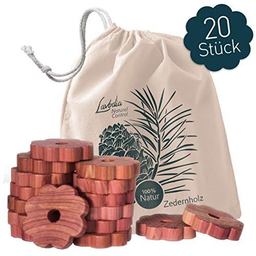 LAVODIA 20x Premium Zedernholz Ringe gegen Kleidermotten, 100% FSC Zeder Blumen als natürlicher Mottenschutz im Kleiderschrank, chemiefreie Mottenfalle gegen Kleider Motten, 20 Zedernholzringe